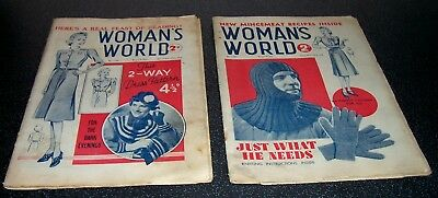 Uncommon - x2 issues of WOMAN'S WORLD 1939 - Fiction and Patterns G+