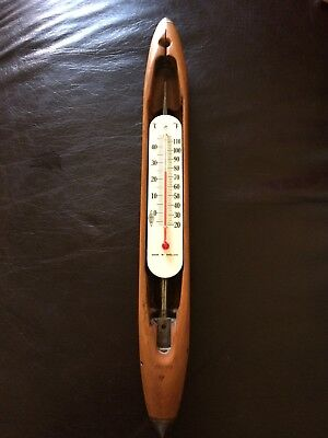 Thermometer, Shuttle, Weaving Loom, Wood, Treen, Vintage