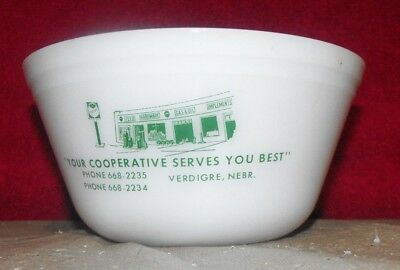 Vintage Federal Glass Advertising Mixing Bowl Co-Op Verdigre Nebraska