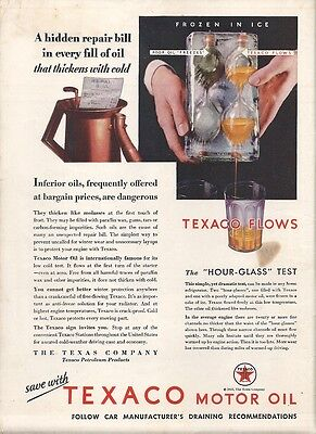 1932 TEXACO Motor Oil The TEXAS Company The Hour-Glass Test Print AD Mag AD