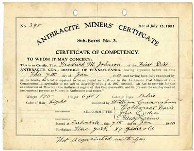 1910 Anthracite Coal Miner Certificate of Competency Carbondale Pennsylvania #10