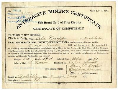1911 Anthracite Coal Miner Certificate of Competency Peckville Pennsylvania #2