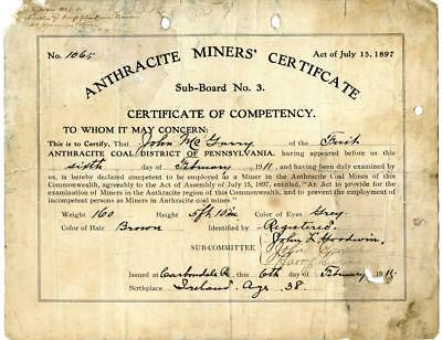 1911 Anthracite Coal Miner Certificate of Competency Carbondale Pennsylvania #3