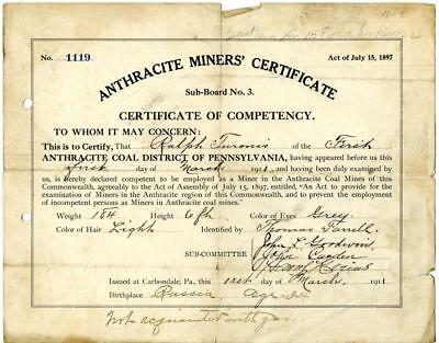 1911 Anthracite Coal Miner Certificate of Competency Carbondale Pennsylvania #4