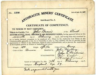 1911 Anthracite Coal Miner Certificate of Competency Carbondale Pennsylvania #5