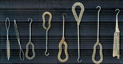 Lot of EIGHT vintage shoe (button, collar) hooks with Advertising - Colorado +++