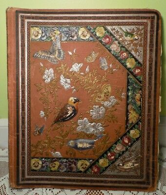 Victorian Antique Scrapbook w Embossed Cover Hundreds Pictures Ads Doily Fringe