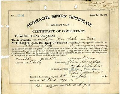 1912 Anthracite Coal Miner Certificate of Competency Carbondale Pennsylvania #2