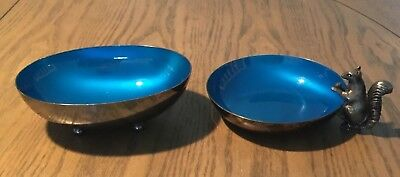 Reed & Barton (2) Blue Enamel Silver Plated Bowls - One with a Squirrel
