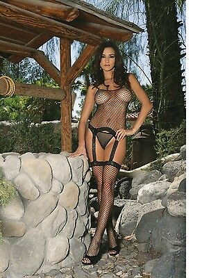 Black Fishnet & Lace Camisole Attached Stockings G-string One Size Elegant 1402