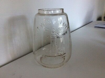 Rare Vintage Old Glass Oil Lamp Chimney It Wont Go Out/Branding 7 Inch