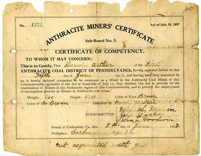 1912 Anthracite Coal Miner Certificate of Competency Carbondale Pennsylvania #3