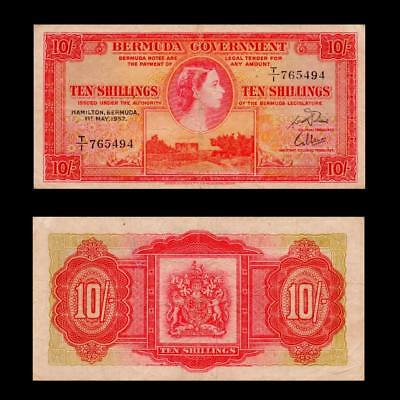 1957 British Colony Bermuda (Qeii), 10 Shillings » Cv $125 « ~Rare~