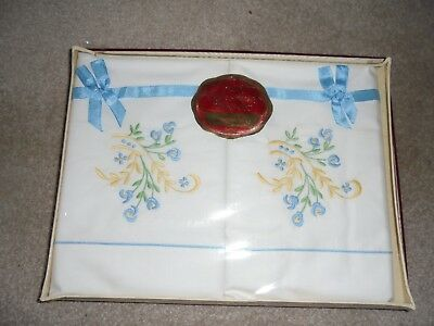 Vintage Hand Embroidered Irish Linen Pillow Case Set Boxed & Sealed
