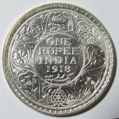 India, Rupee, 1918(b), Brilliant Uncirculated, .3438 Ounce Silver, #4