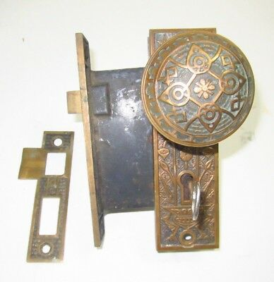Antique Eastlake Norwalk Mortise Lock Knobs Backplates Strike Key Latch Set