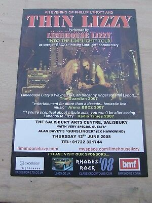 Limehouse Lizzy...Thin Lizzy Tribute Band....Tour Flyer 2008 A5 promo in gc