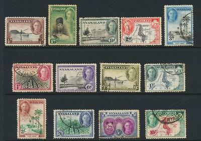 NYASALAND 1945, SET TO 10sh VF USED SG#144-56 CAT£46 $60 (SEE BELOW