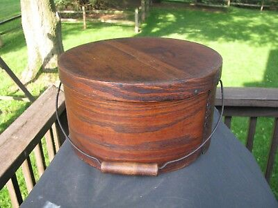 ANTIQUE NEW ENGLAND PANTRY BOX with BAIL HANDLE / CIRCA 1870'S
