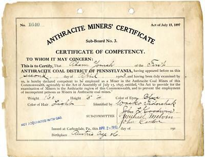 1913 Anthracite Coal Miner Certificate of Competency Carbondale Pennsylvania