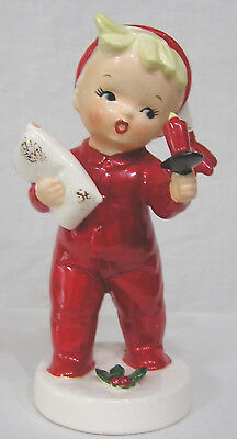 Vtg Christmas NAPCO Boy in Red PJs Holds Candle Pillow 1957