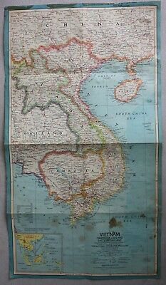 Dated 1965 National Geographic VIETNAM LAOS CAMBODIA THAILAND Full Color Map