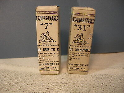 Antique Humphreys Homeopathic Medicine  #7, Coughs & #31, Painful menstruation