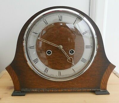 Vintage Smiths Wood Cased Mantle Clock ~ Working Cleaned & Serviced