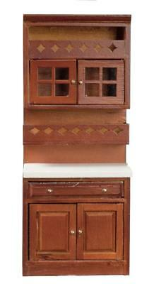 Dolls House Walnut Fitted Shelf Unit Cabinet Miniature 1:12 Kitchen Furniture