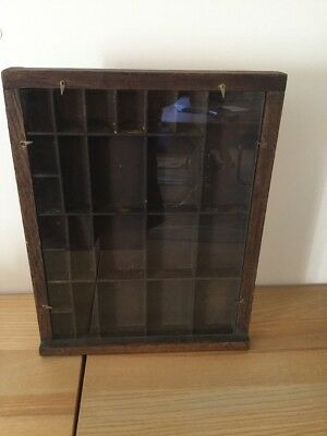 Vintage Wooden Display Case Wall Mountable Or Free Standing Very Very Old