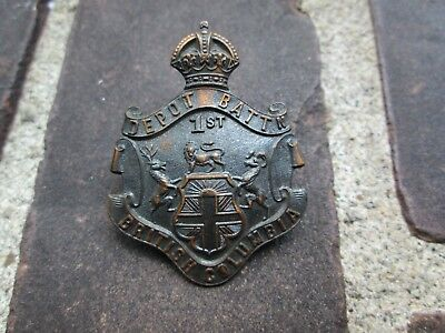 WWI CEF 1st Depot Battalion British Columbia Browning Copper Cap Badge-Charlton
