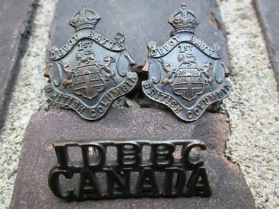 WWI CEF 1st Depot Battalion British Columbia Browning Copper Collar Badge Set-