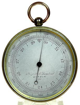 Polished brass English compensated pocket aneroid barometer & altimeter