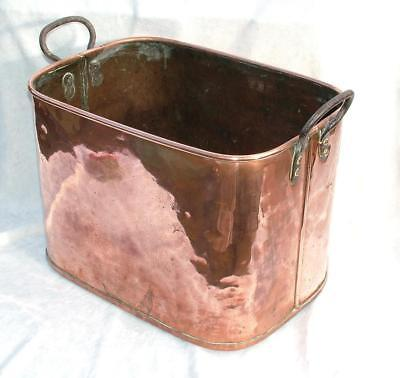 LOVELY EARLY 19th CENTURY ANTIQUE COPPER LOG OR COAL BOX / STOCK POT