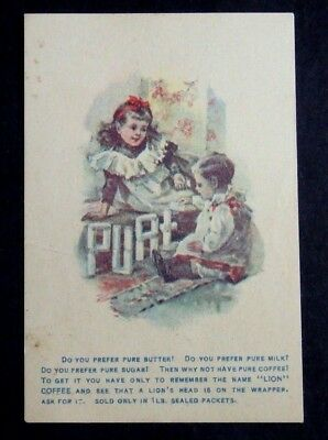 1880's Victorian Trade Card Woolson Spice Co Lion Coffee Toledo Oh
