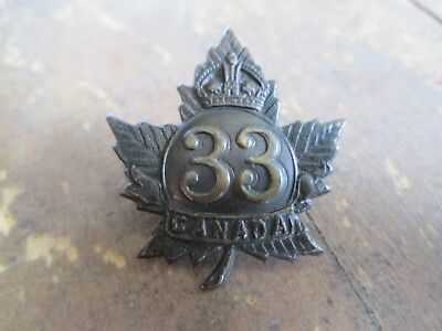 WWI CEF 33rd Overseas Battalion Canada Browning Copper Collar Badge - Charlton