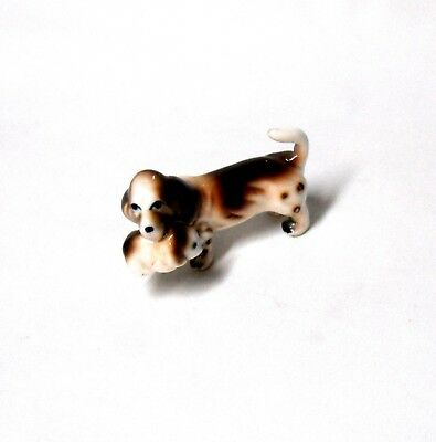 Vintage Miniature Bone China Basset Hound Dog With Pup Figurine
