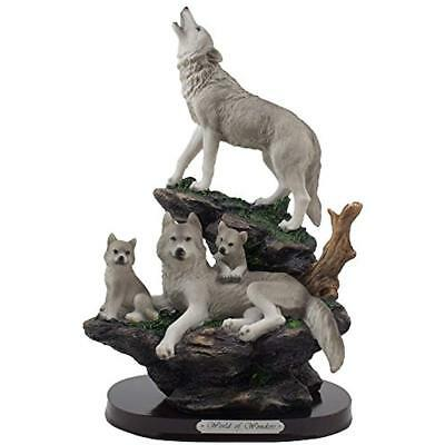 Howling Wolf And Family On Rock Statue For Decorative Lodge Rustic Cabin & Art