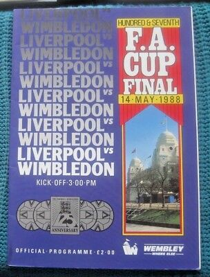 Liverpool V Wimbledon Fa Cup Final 1988  Plus Signed Photo