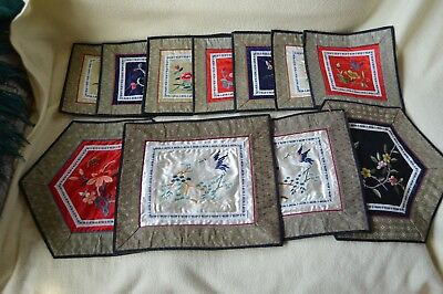 11x Pretty Chinese Dun Huang Silk Hand Embroidered Placemats