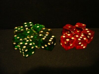 """14 Various Vintage Bakelite 5/8"""" Dice-Green & Red-Simichrome Tested"""