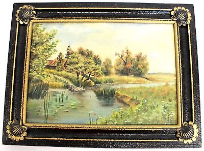 PAZNH Original Countryside River Landscape Original Oil Painting In Frame - A37