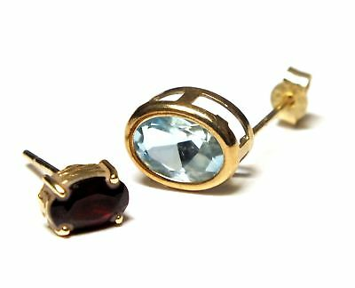375 9ct YELLOW GOLD Oval Bezel Blue SPINEL & Red TOURMALINE Earring, 0.98g - Y96