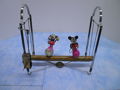1930s era early Disney Mickey and Minnie Mouse Windup Toy - Borgfeldt