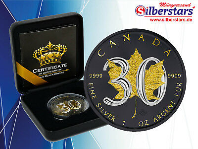 1 OZ Silber 30 Jahre Maple Leaf Canada 2018 Gold Black Empire Edition New
