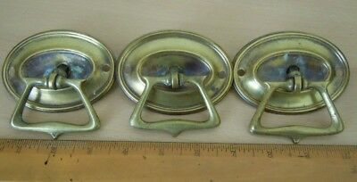 Vintage Brass Drop Drawer Handles With Pressed Brass Back Plates (3)
