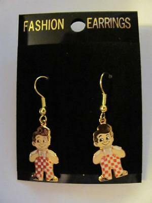 Vtg Bob's Big Boy Fish Hook Gold Tone Earrings New Burbank Ca
