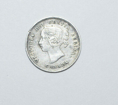 1889 5 Cent Coin Canada Five Cents .925 Silver Rare Key Date Xf