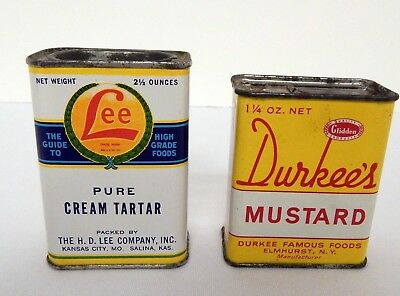 2 Vintage Spice Tins Lee Cream Tartar and Durkee's Mustard Nice Bright Graphics