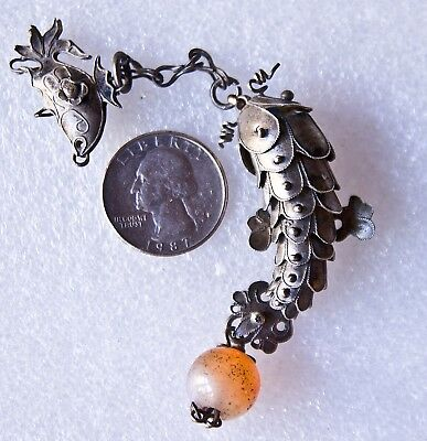 Antique Silver and Agate Chinese Jointed Fish Pendant